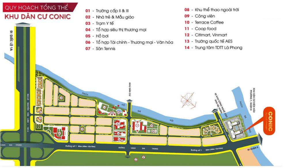 Quy hoạch tổng thể khu dân cư Conic rộng 29 hecta.
